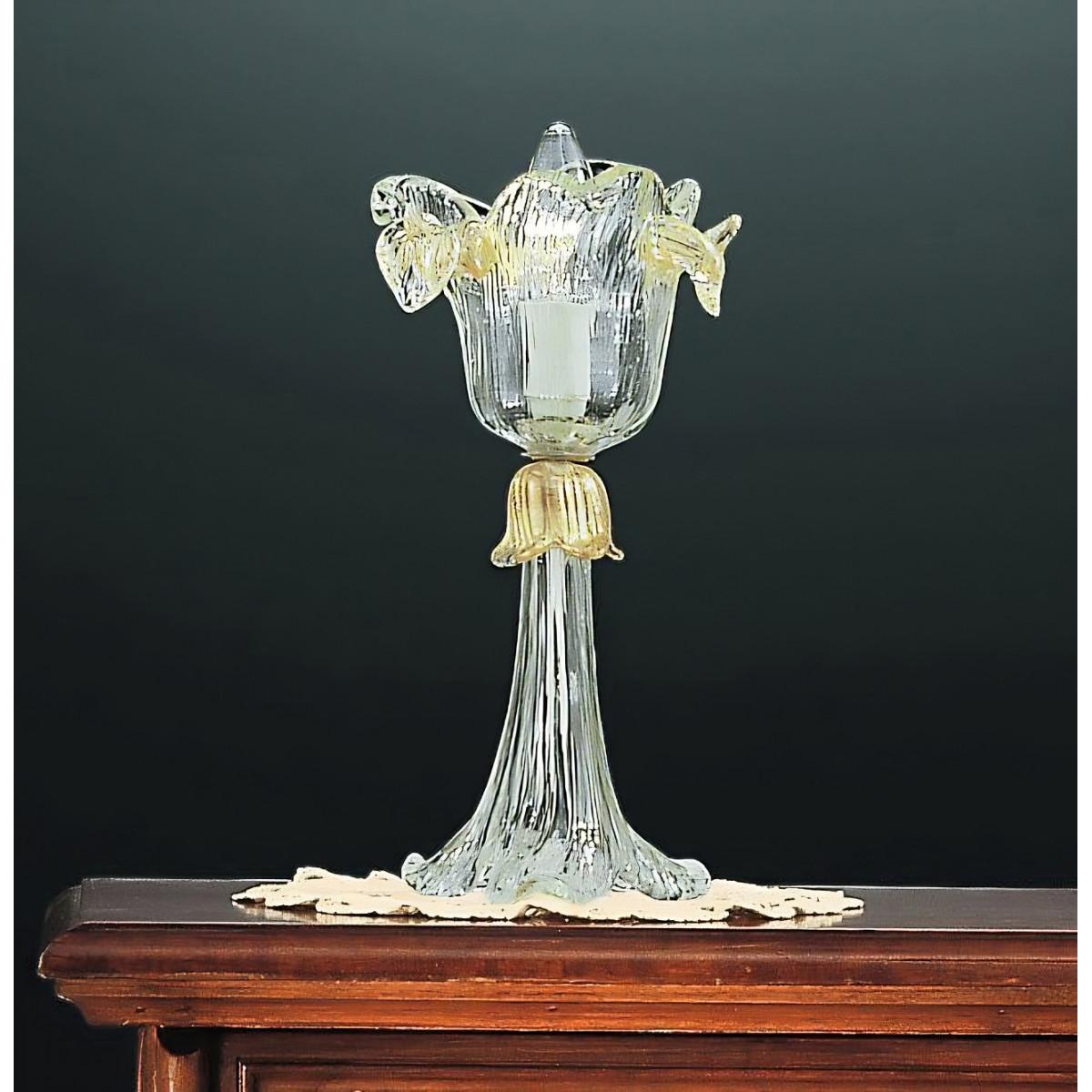 Accademia 1 luz - lampara de mesa pequeña de Murano - color oro transparente