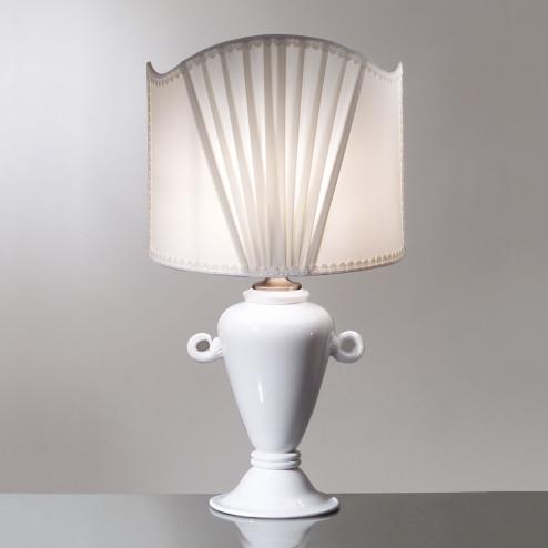 """""""Penelope"""" lampara de sobremesa blanca de Murano"""