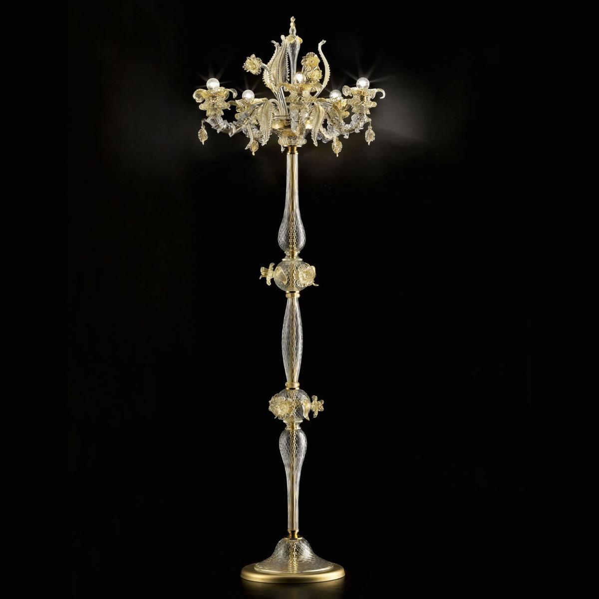 """""""Prezioso"""" 6 flammig Murano stehleuchte - transparent gold farbe"""