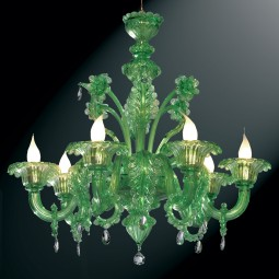 """Giada"" green Murano glass chandelier - 6 lights"