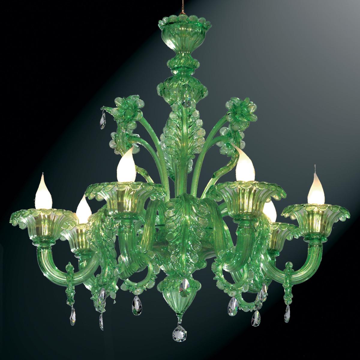 """""""Giada"""" lampara verde de araña de Murano - 6 luces"""