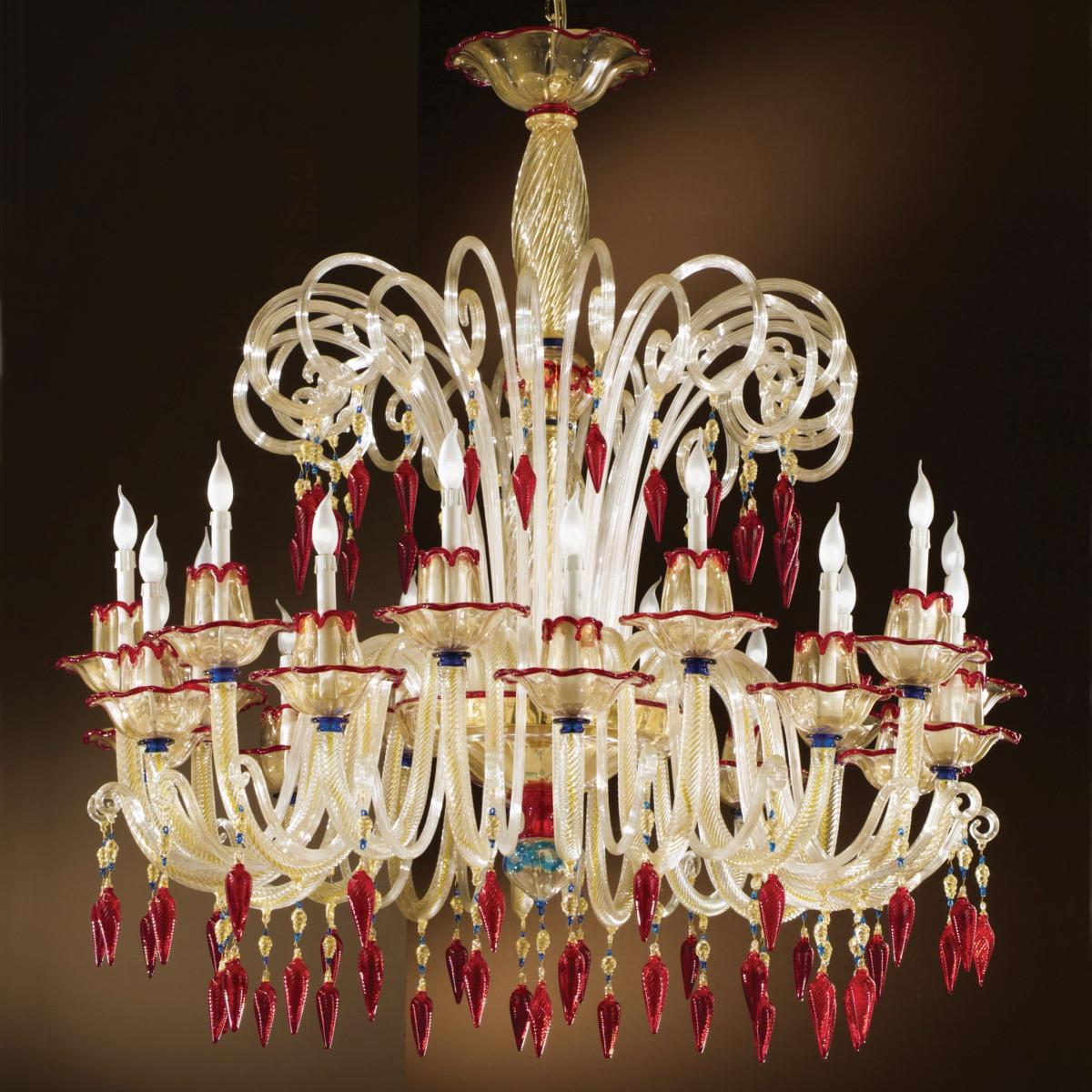 """Mocenigo"" lampara de cristal de Murano - 10+10 luces"