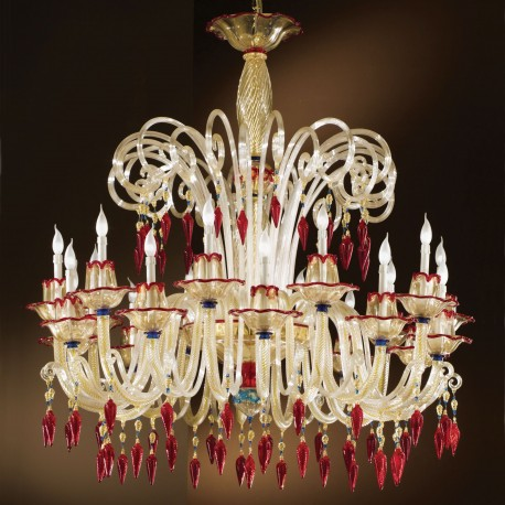 """Mocenigo"" Murano glass chandelier - 10+10 lights"