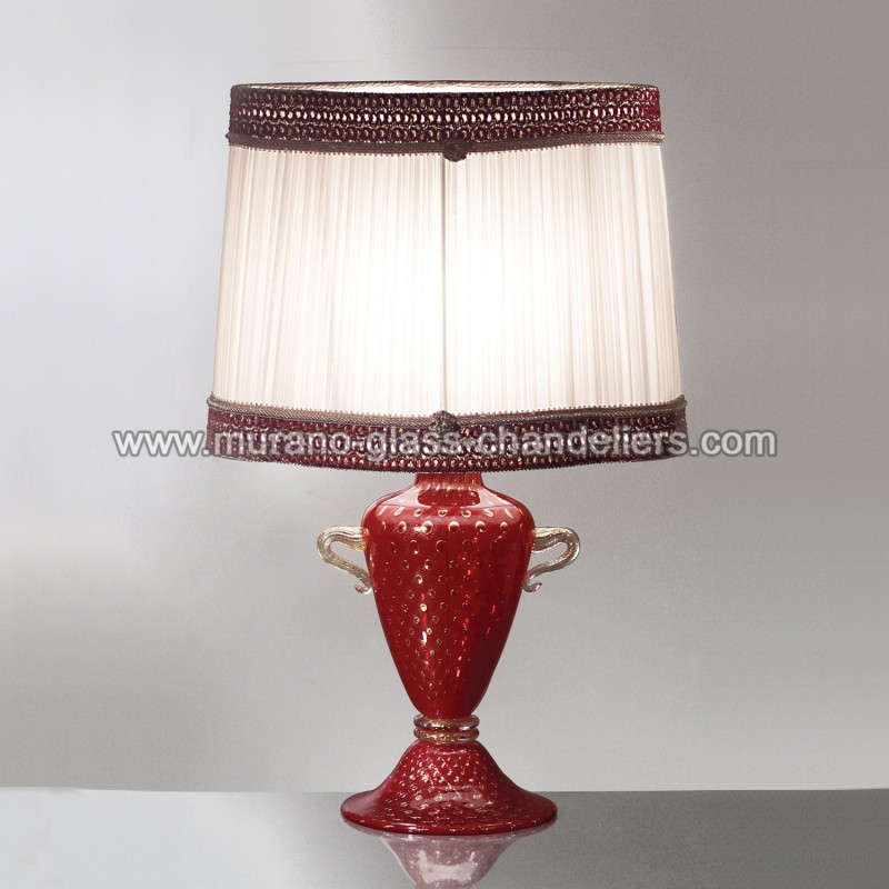 "Red Chandelier Table Lamp: ""Febe"" Red Murano Glass Table Lamp"
