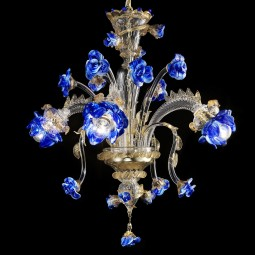 """Manin"" Murano glass chandelier - 3 lights - transparent gold and blue color"