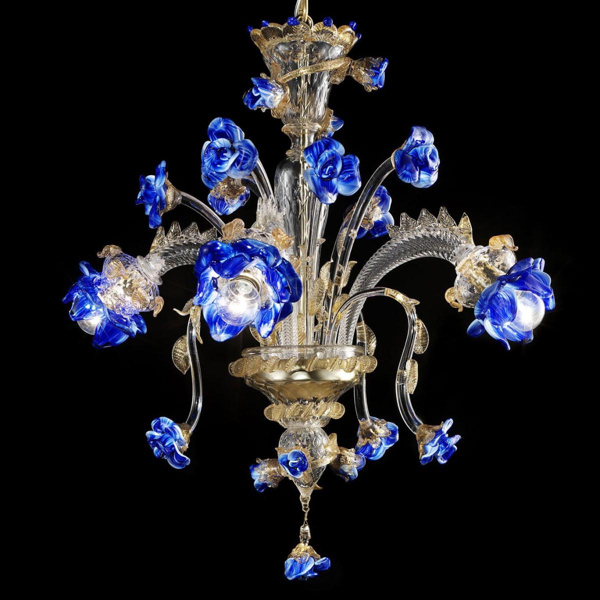 """Manin"" Murano glas Kronleuchter - 3 flammig - transparent gold blau farbe"