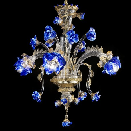Manin Murano Gl Chandelier 3 Lights Transpa Gold And Blue Color