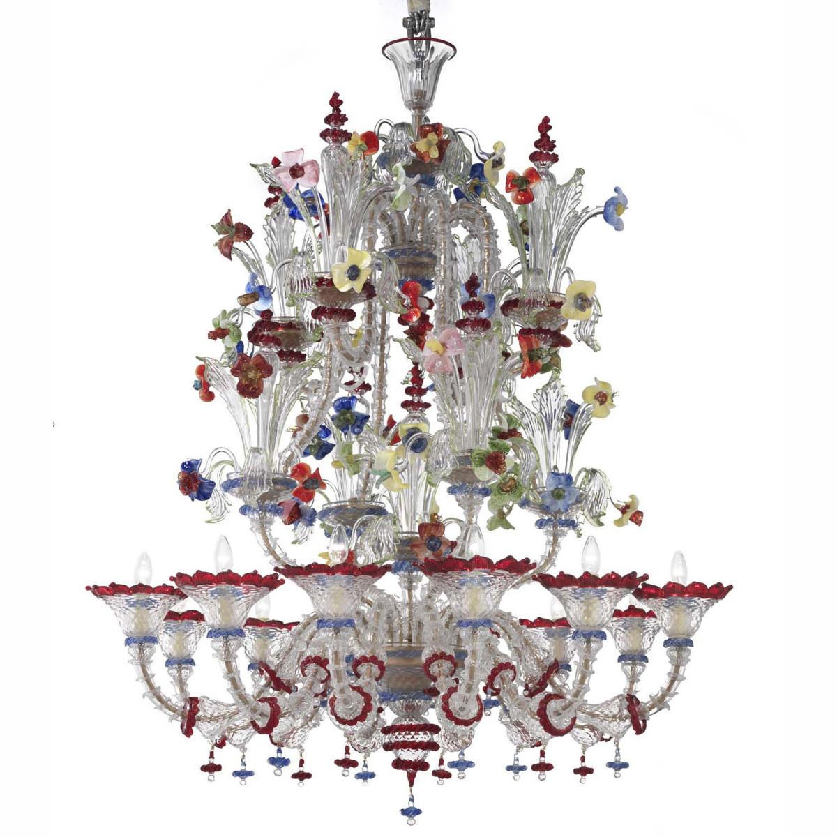 """""""Santa Fosca"""" lustre en verre de Murano- 12 lumieres- couleur transparent polychrome"""