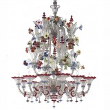 """Santa Fosca"" Murano glass chandelier - 12 lights - transparent polychrome color"