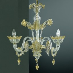 Casanova 3 lights Murano chandelier with rings transparent gold color