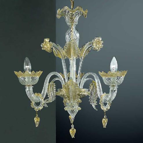 Casanova 3 flammig Murano Kronleuchter mit Ringen - farbe transparente Gold