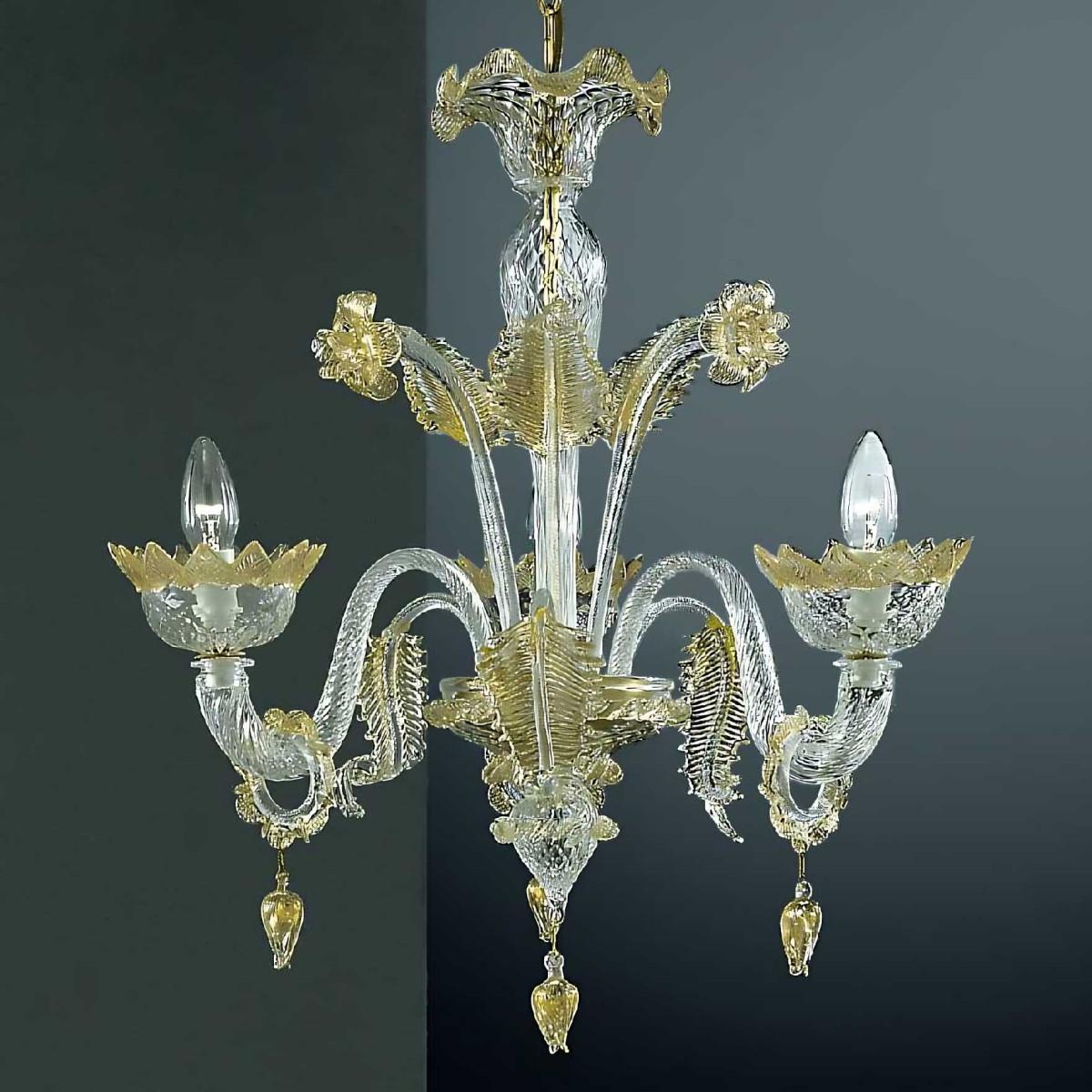 Casanova 3 lumieres Murano chandelier avec des anneaux - couleur or transparent