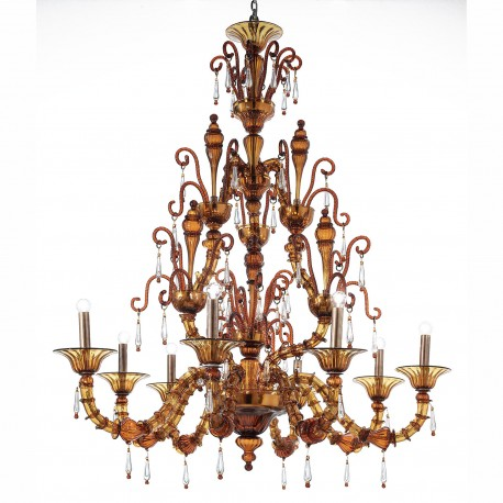 """Odisha"" Murano glass chandelier - 9 lights - tea color"