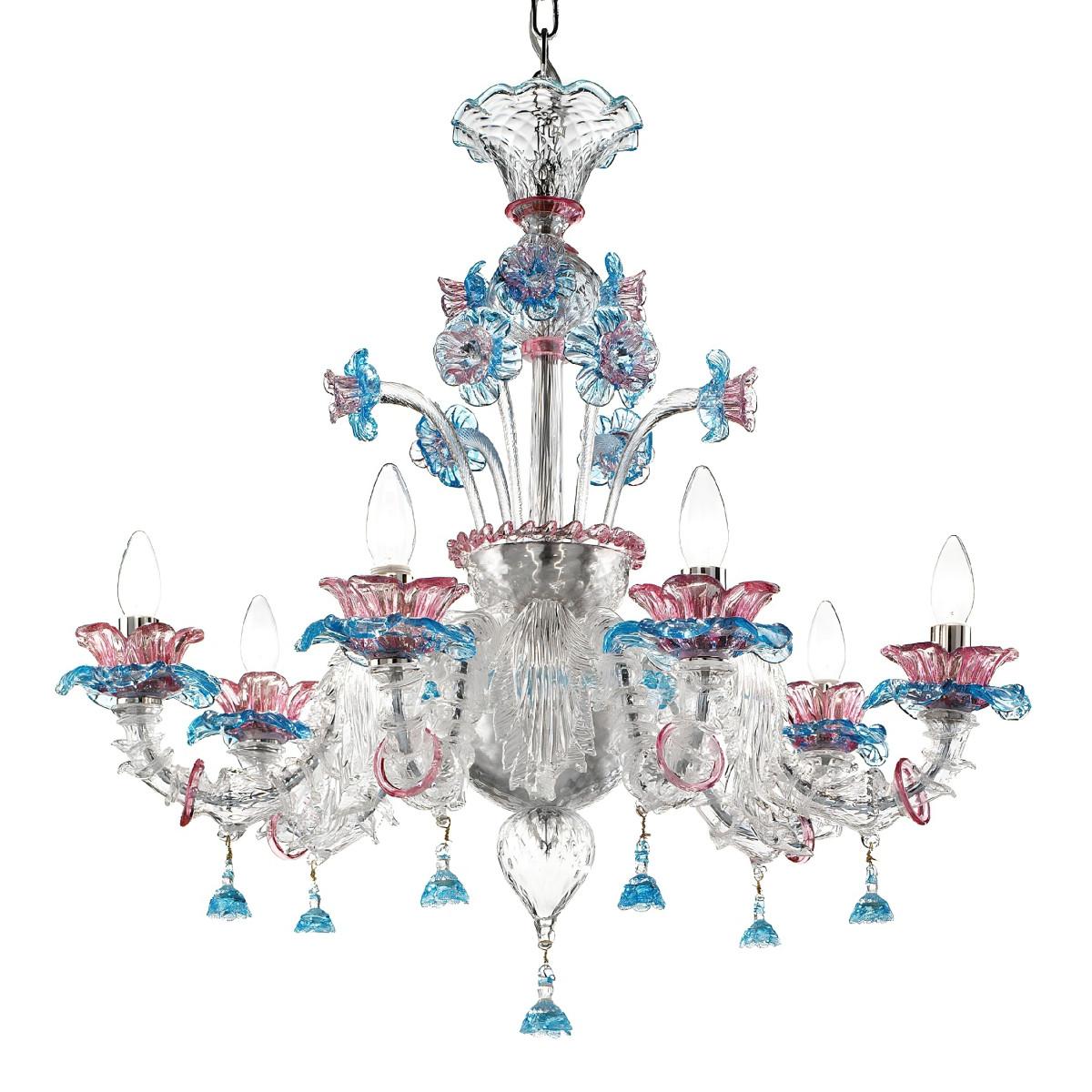 """Nada"" lustre en verre de Murano - 6 lumieres- transparent rose et bleu"