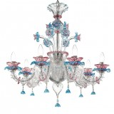 """Nada"" Murano glass chandelier - 6 lights - transparent pink and light blue"