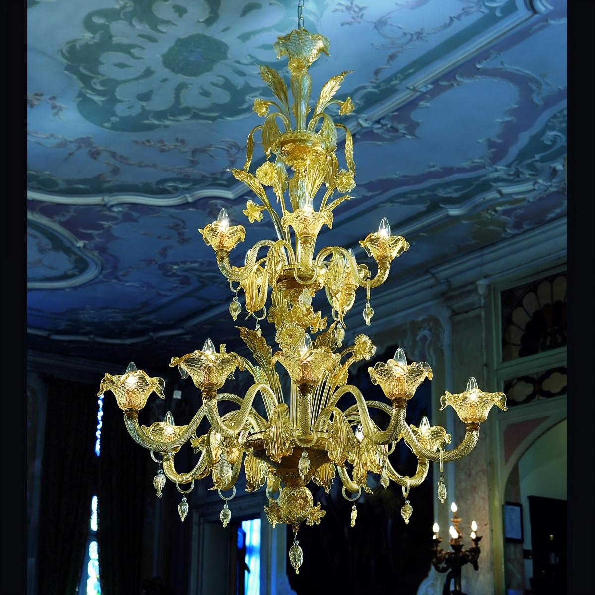 """""""Artemisia"""" lampara de cristal de Murano - 10+5 luces- color ambar y oro"""