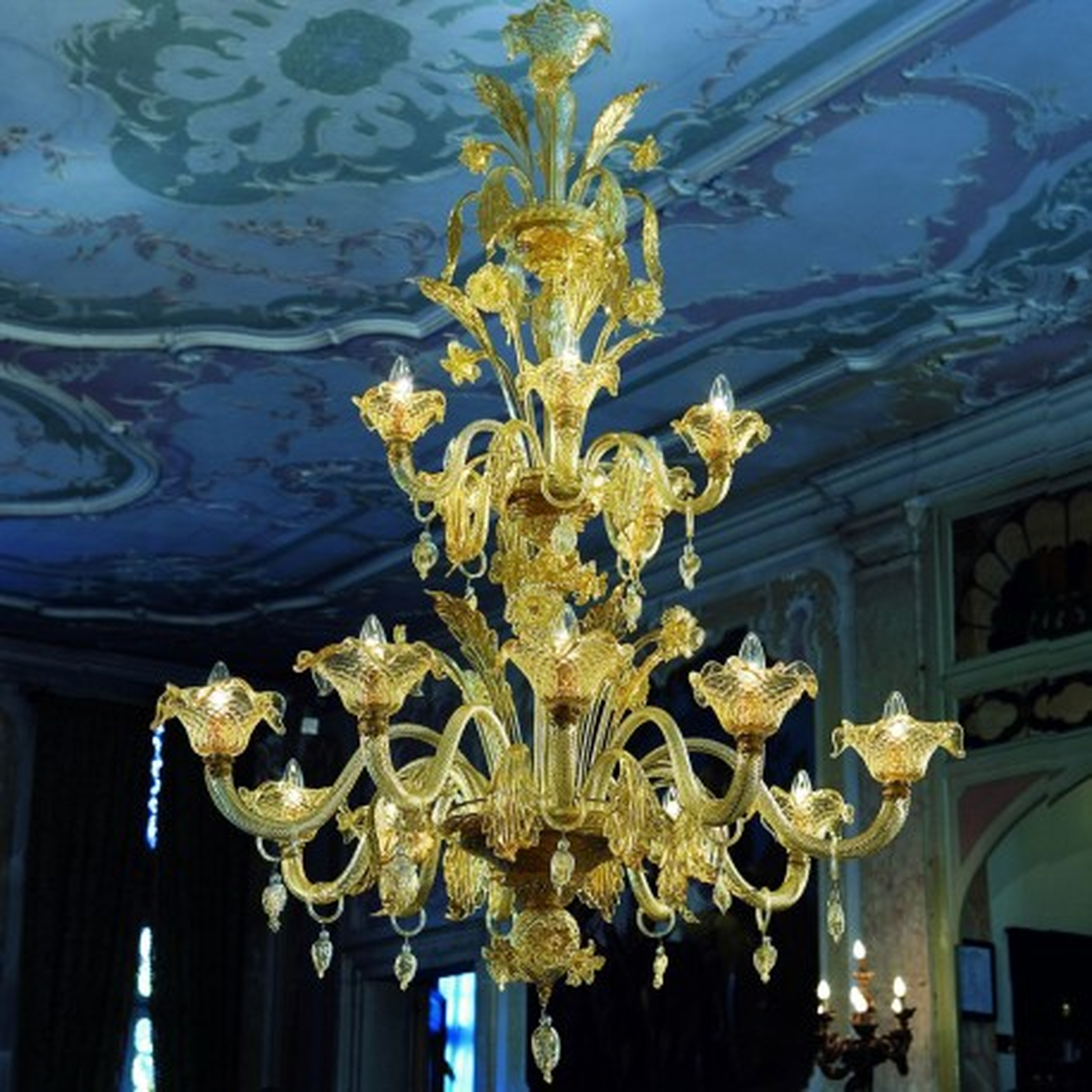 """Artemisia"" lustre en verre de Murano - 10+5 lumieres - couleur ambre or"