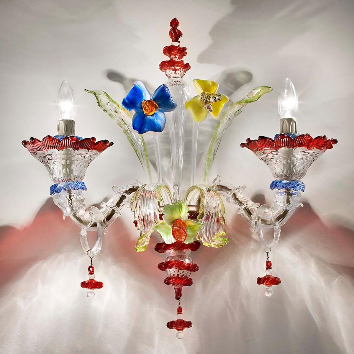 """""""Santa Fosca"""" Murano glass sconce - 2 lights - transparent polychrome"""