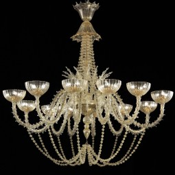 """Champagne"" Murano glass chandelier - 36 lights - gold color"