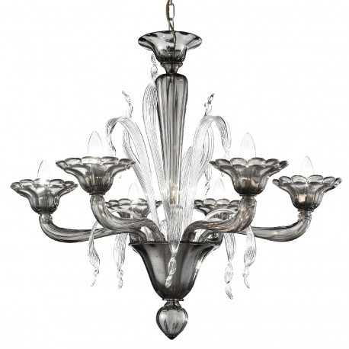 """Nereo"" araña de cristal de Murano - 6 luces - humo y transparente"