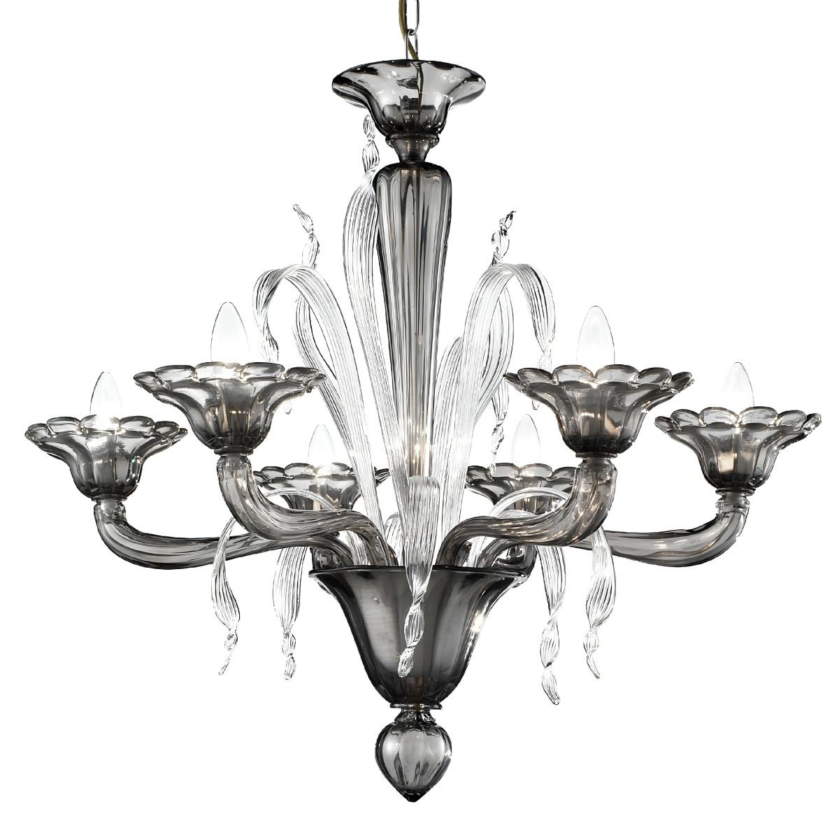 """""""Nereo"""" lustre en cristal de Murano - 6 lumieres- fumée et transparent"""