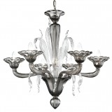 """Nereo"" Murano glass chandelier - 6 lights - smoke and transparent color"
