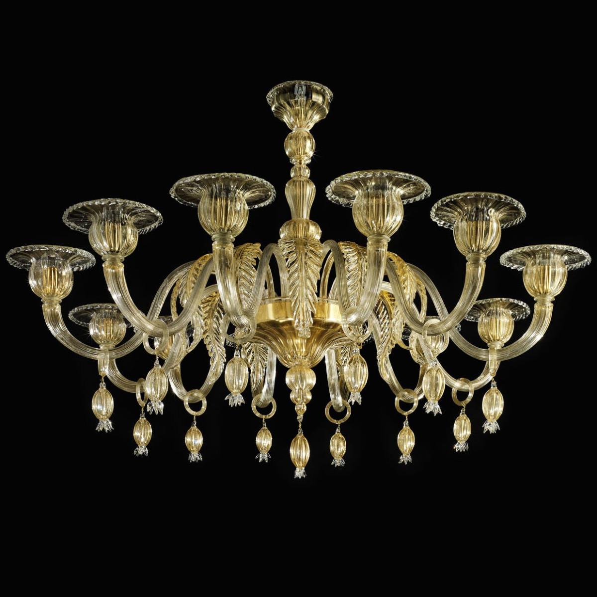 """Orfeo"" lustre en verre de Murano - 12 lumieres - tout or"