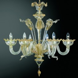 Casanova 6 lights Murano chandelier transparent gold color