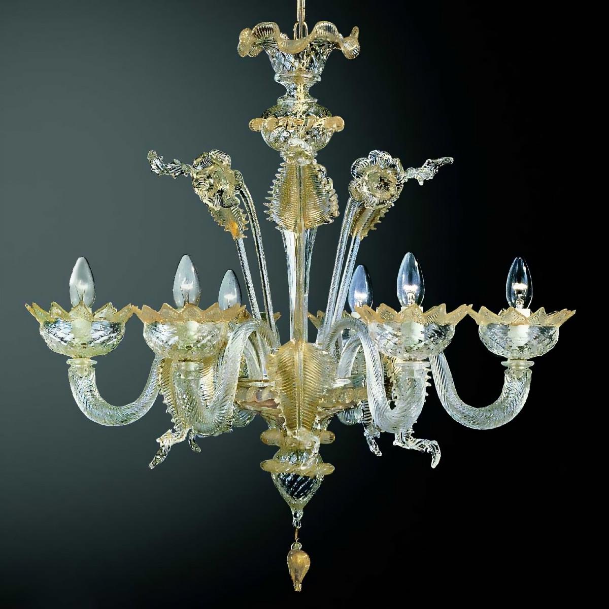 Casanova 6 flammig Murano Kronleuchter Farbe transparente Gold