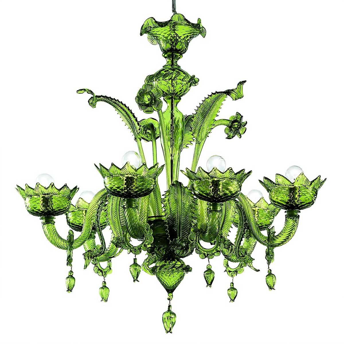 Casanova, 6 luces lampara de Murano con anillos- color verde - detail