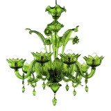 Casanova 6 lights Murano chandelier with rings green color - detail