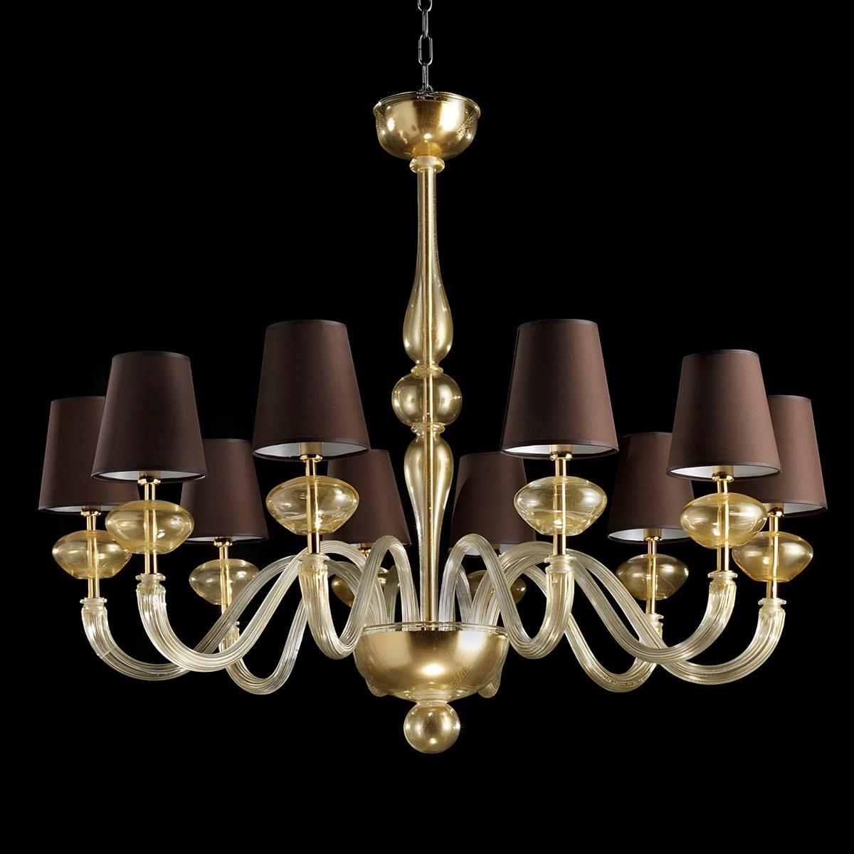 """""""Castore"""" lampara de araña de Murano - 10 luces - todo oro - pantallas marron"""