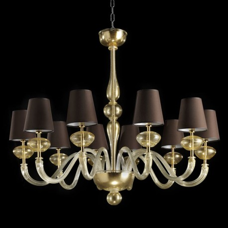 """Castore"" Murano glass chandelier - 10 lights - all gold brown lampshades"