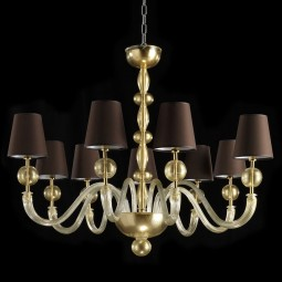 """Polluce"" Murano chandelier - 9 lights - gold with brown lampshades"