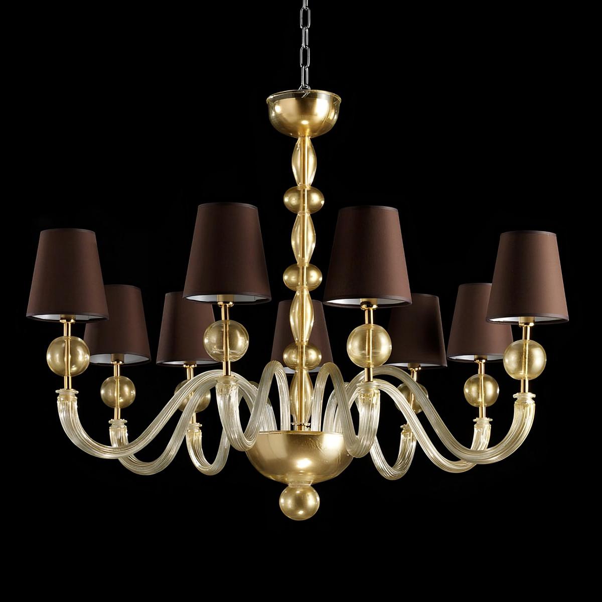 """""""Polluce"""" lampara de araña de Murano - 9 luces - color or - pantallas marron"""