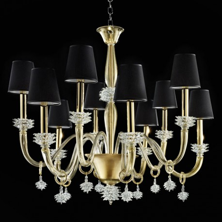 """Sibilla"" Murano glass chandelier - 10 lights - gold and transparent black lampshades"