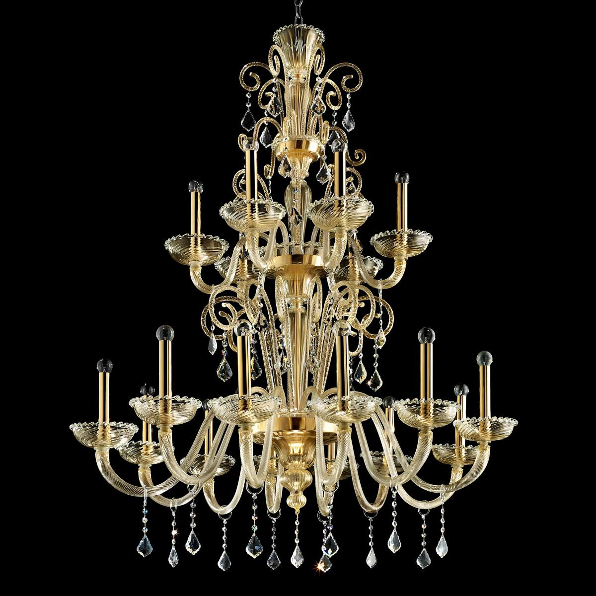 """""""Re Mida"""" lampara de araña de Murano - 12+6 luces - todo oro"""