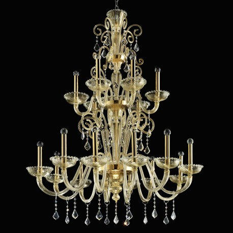 """Re Mida"" Murano glass chandelier - 12+6 lights - all gold"