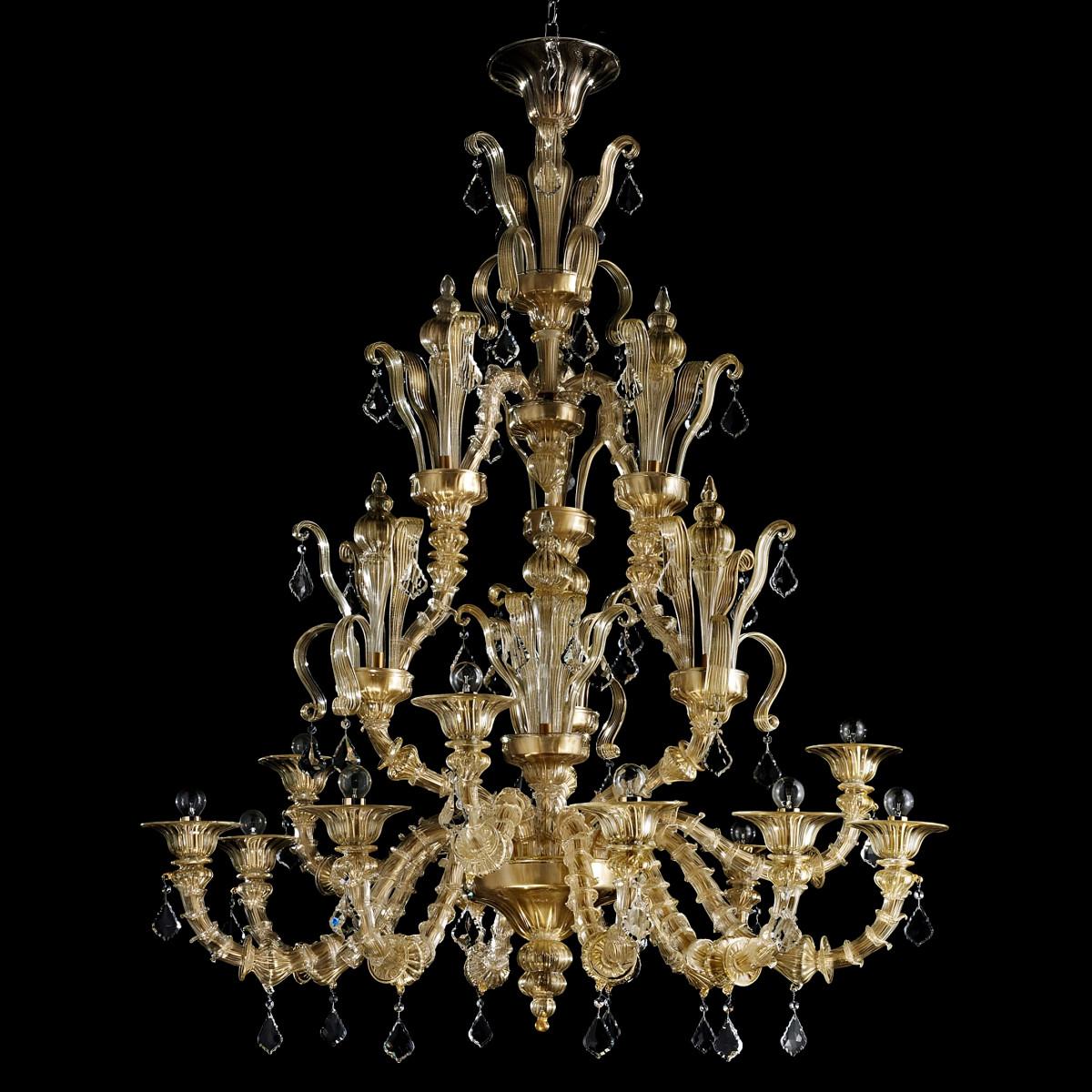 """""""Pallante"""" Murano glas Kronleuchter  - 9+3 flammig - farbe gold"""