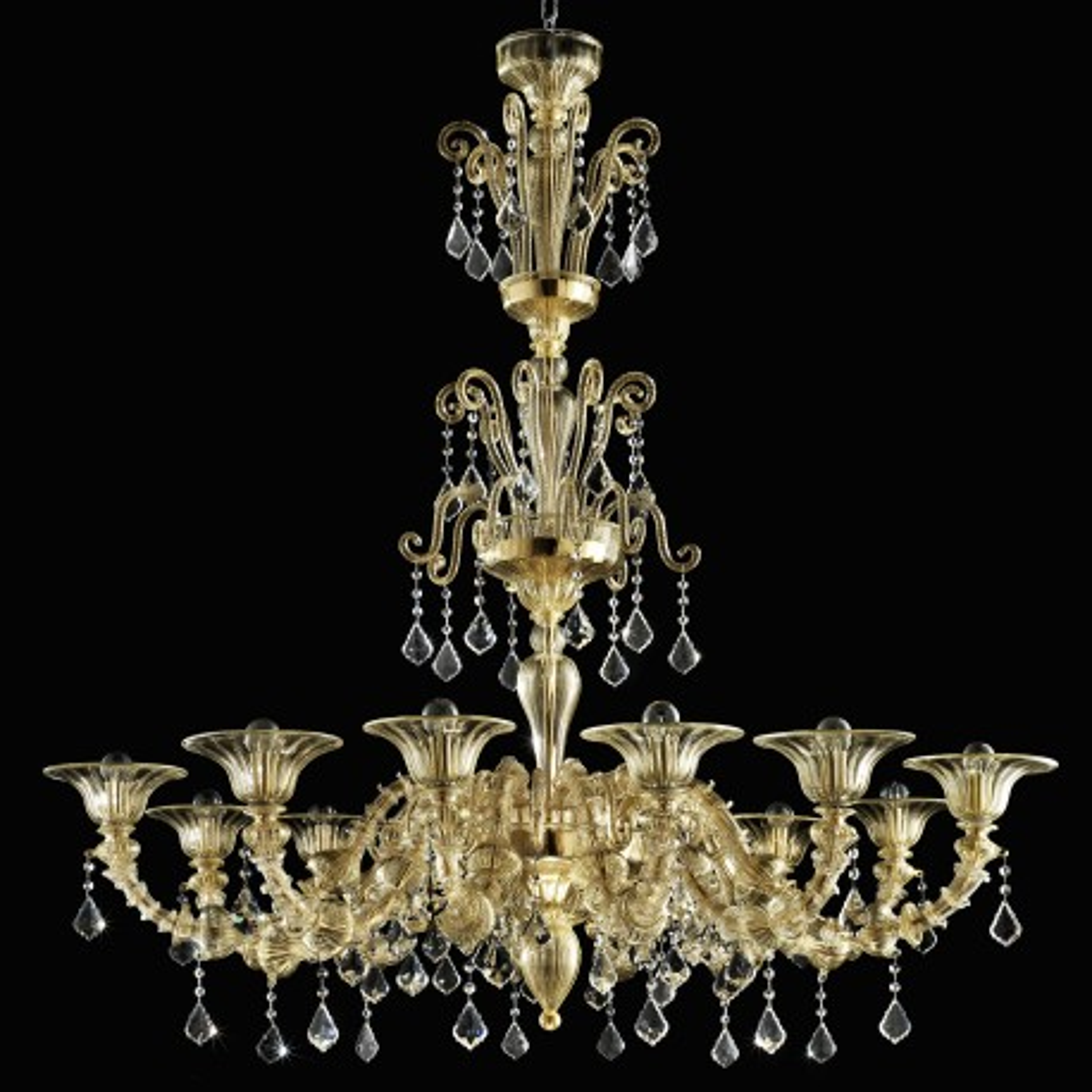 """""""Porsenna"""" lampara de cristal de Murano - 12 luces - todo oro"""