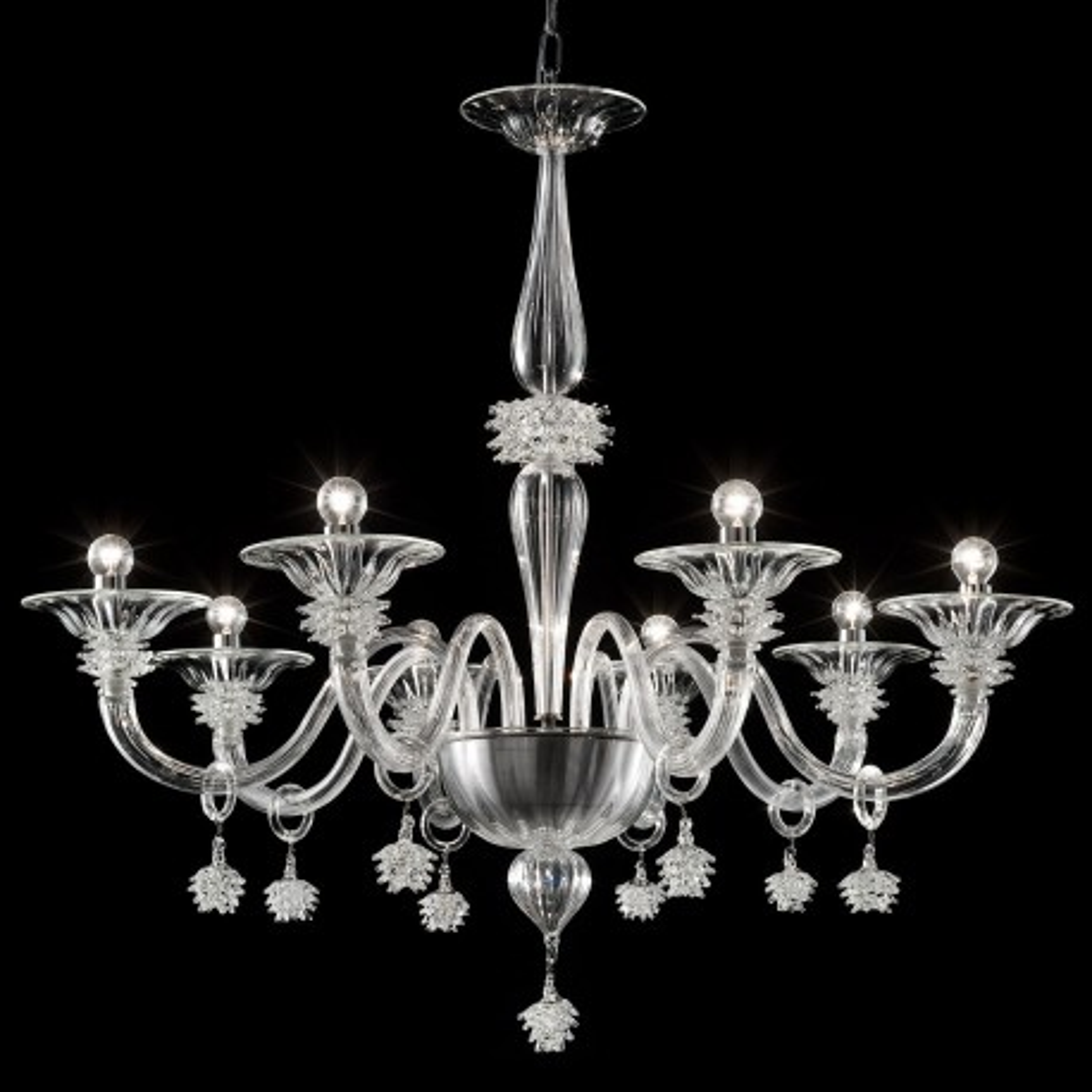 """Magellano"" lustre en verre de Murano - 8 lumieres - transparent"