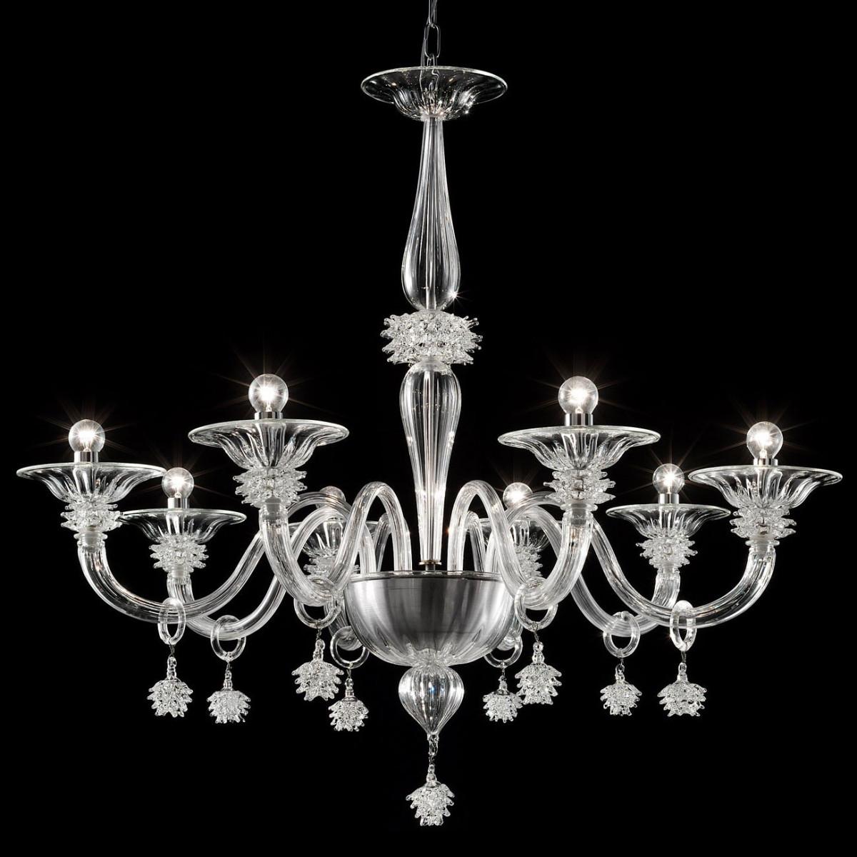 """Magellano"" Murano glas Kronleuchter - 8 flammig - transparent"