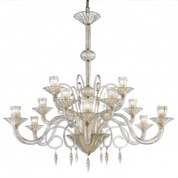 """Dioniso"" Murano glass chandelier - 15 lights - all gold"