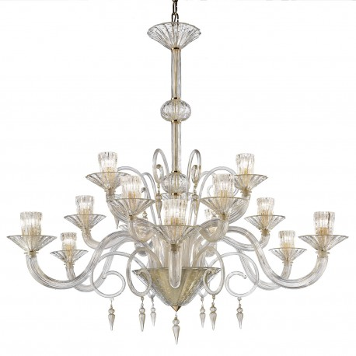 """""""Dioniso"""" lampara de araña de Murano - 15 luces - todo oro"""
