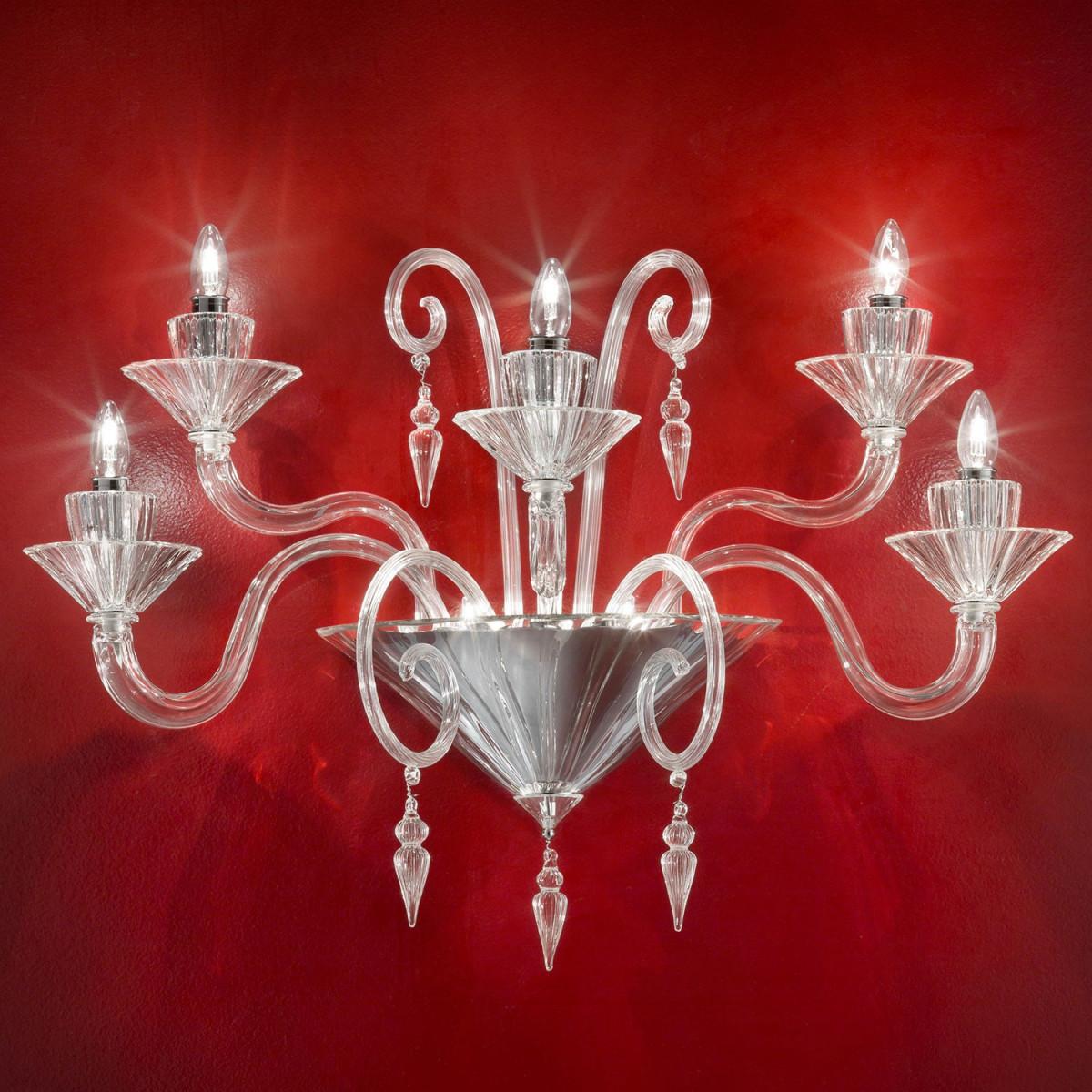 """""""Dioniso"""" aplique de Murano - 5 luces - transparente"""