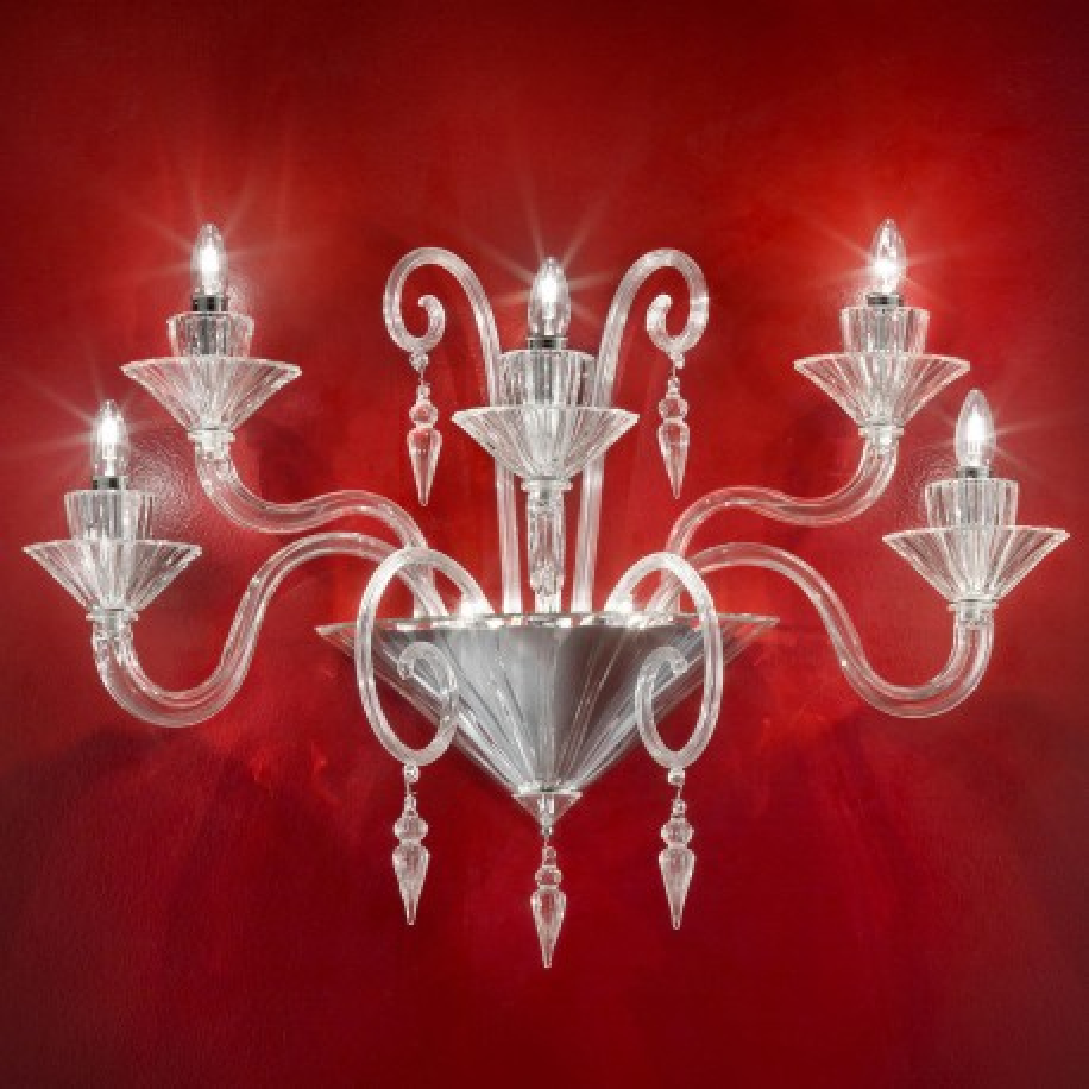 """""""Dioniso"""" applique en verre de Murano - 5 lumieres - transparent"""