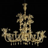 """Oasi"" oval Murano glass chandelier - 12 lights - oval shape - transparent"