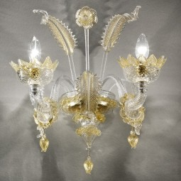 Casanova 2 lights Murano sconce with rings transparent gold color