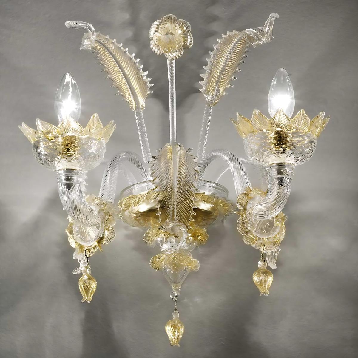 Casanova aplique de Murano 2 luces  con anillos - color transparente oro