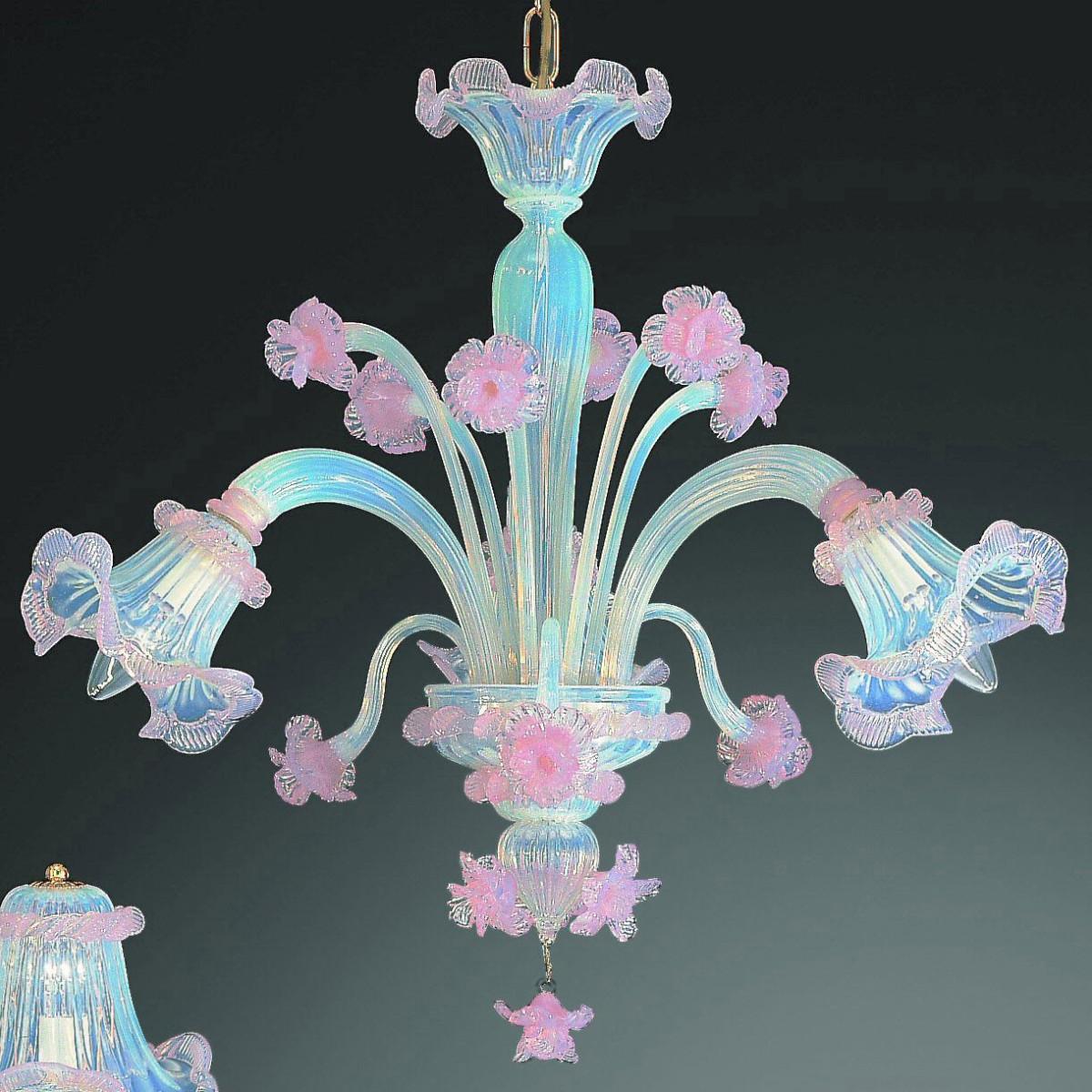 """""""Minerva"""" Murano glas Kronleuchter - 3 flammig - opal und rosa"""